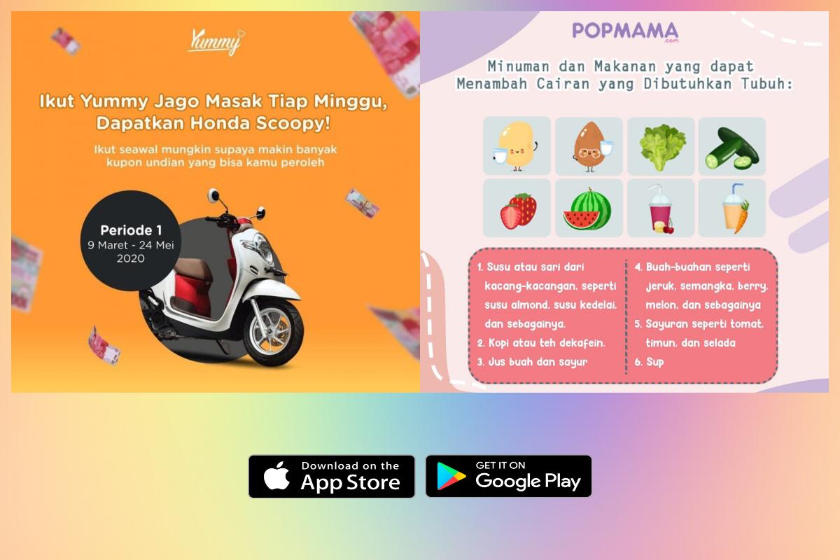 Aplikasi Yummy App dan Popmama