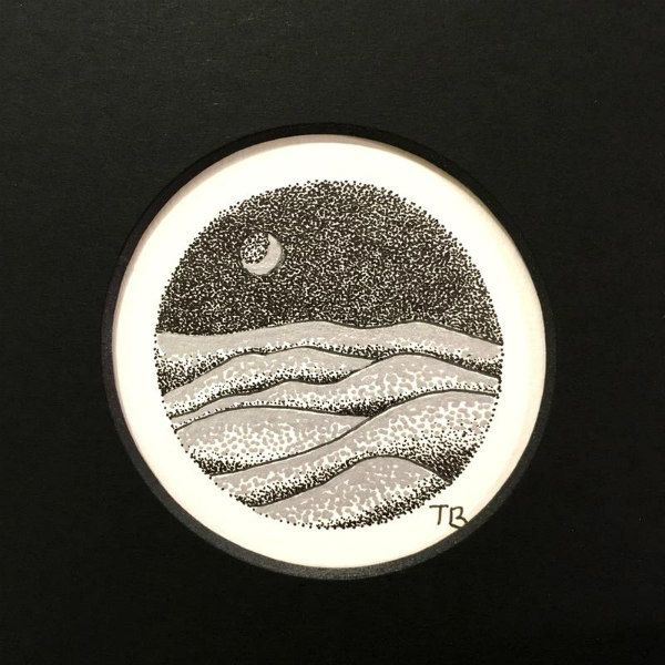 ink on paper illustration of hills and moon at night