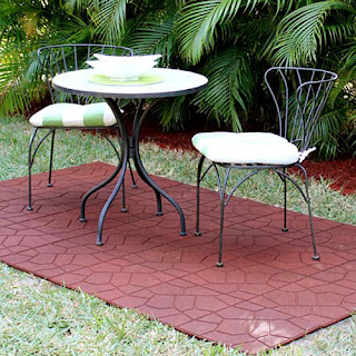 patio with rubber paver tile Greatmats