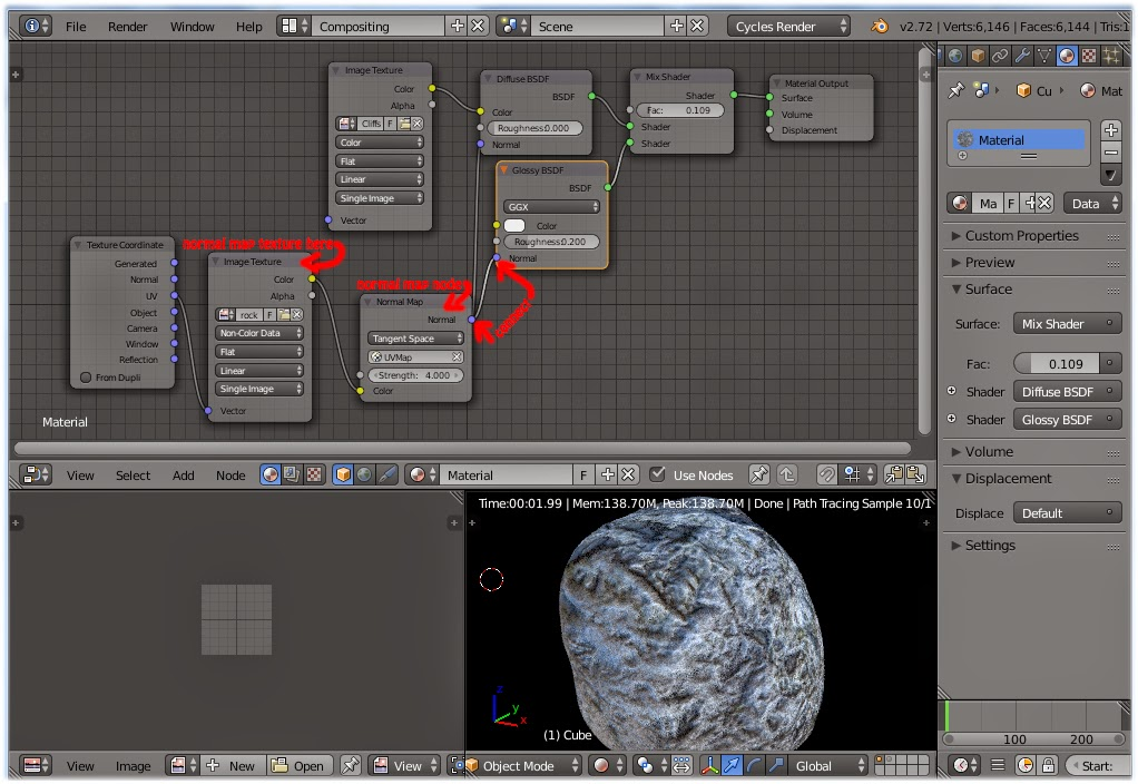 urtuts: blender tutorial how to apply normal maps cycles