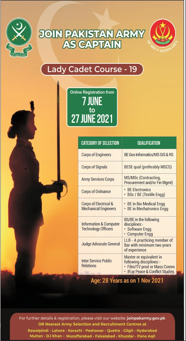 Join Pakistan Army as Captain Lady Cadet Course 19 Jobs 2021 For Commissioned Officer, Lady Commissioned Officer