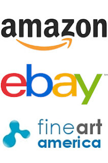 Graphic of several different online fine art markets logos like Amazon, Ebay, and Fine Art America