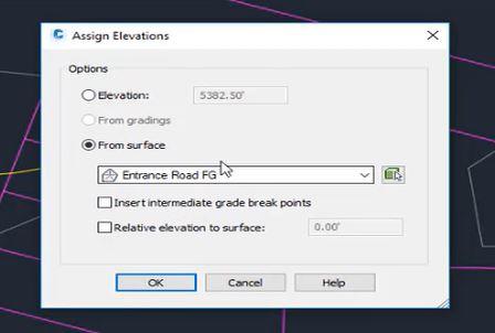 Assign elevations in Autodesk Civil 3D