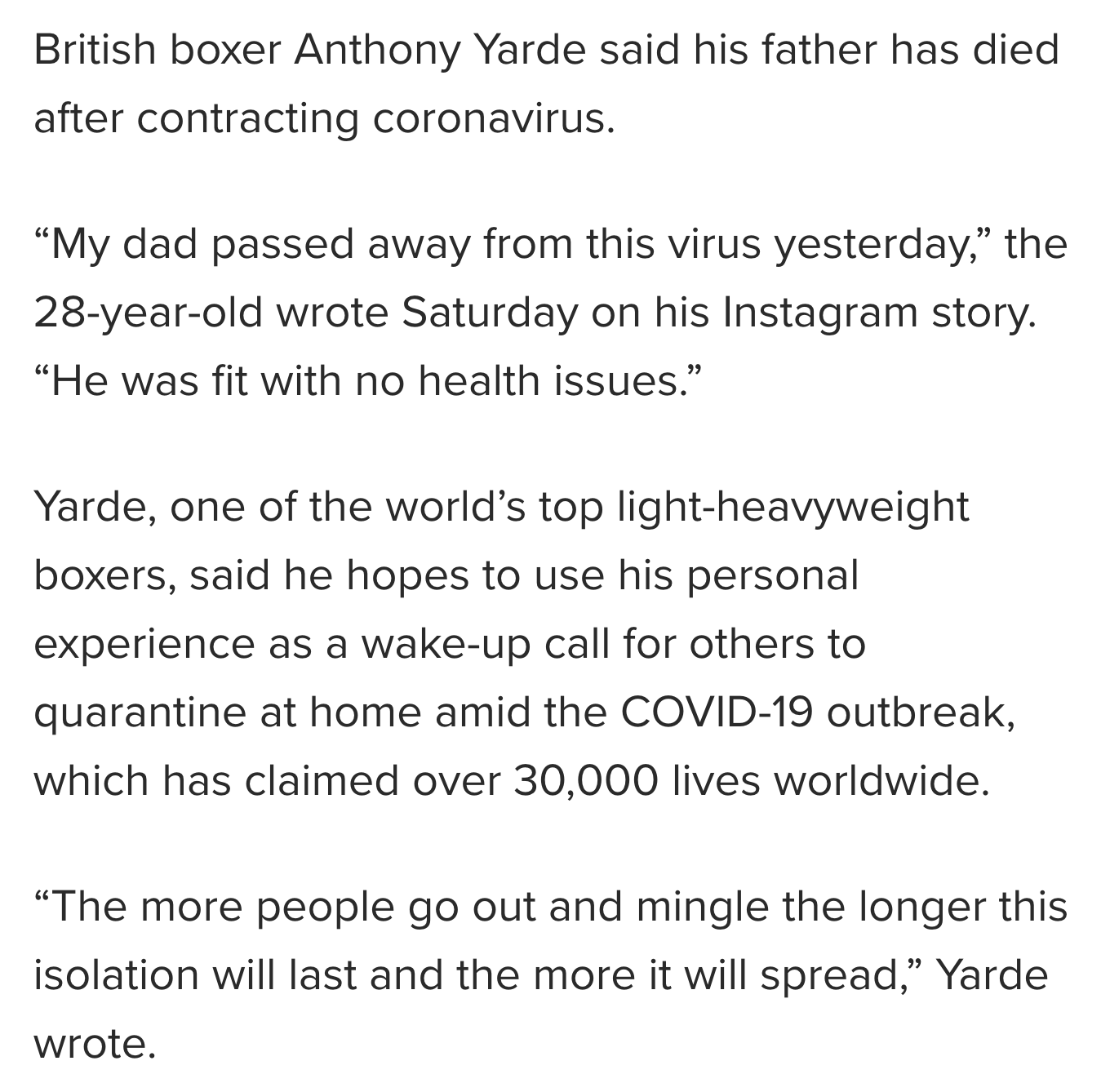 Boxer Anthony Yarde's Father Dies From Coronavirus, March