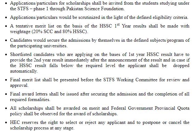 HEC science talet forming scheme STFS selection procedure