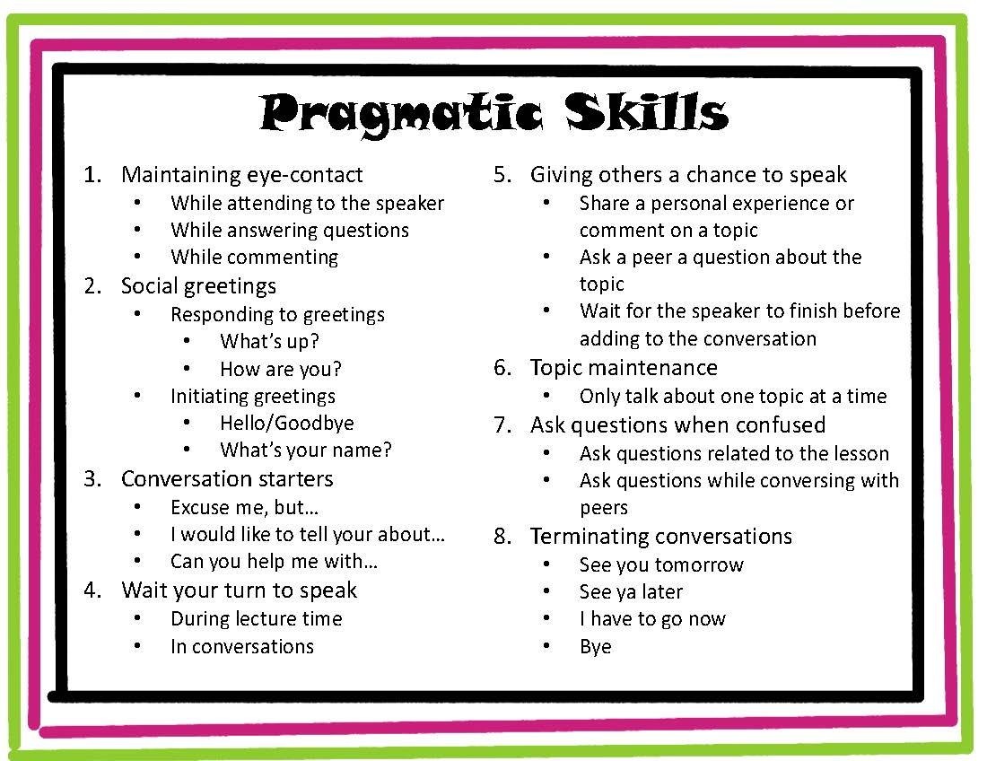 Speeching Around Pragmatic Skills