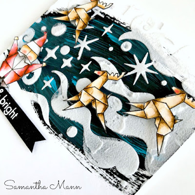 Merry & Bright Origami Christmas Card by Samantha Mann, Hero Arts, Get Cracking on Christmas, Cards, Mixed Media, Embossing Paste, Stencil, #heroarts #stamps #cards #christmas #getcrackingonchristmas