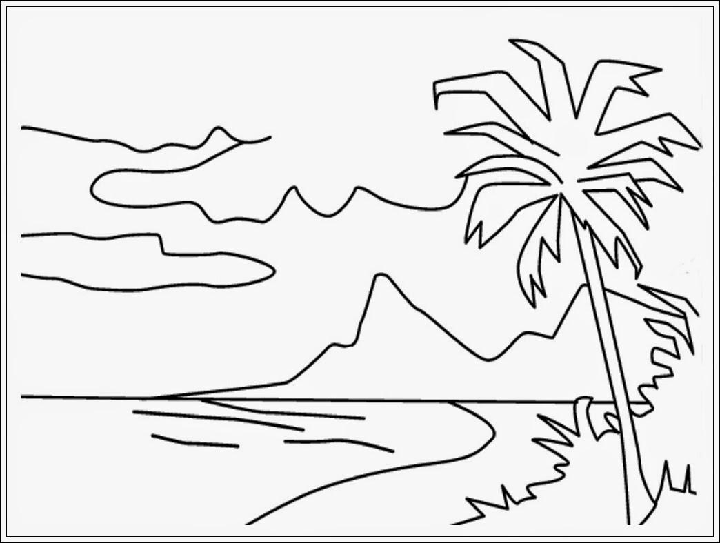 gambar mewarnai pemandangan alam pantai hitam putih