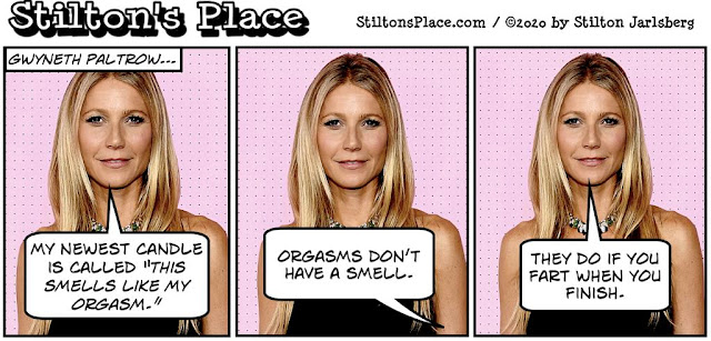 stilton's place, stilton, political, humor, conservative, cartoons, jokes, hope n' change, paltrow, gwyneth paltrow, candle, vagina, orgasm