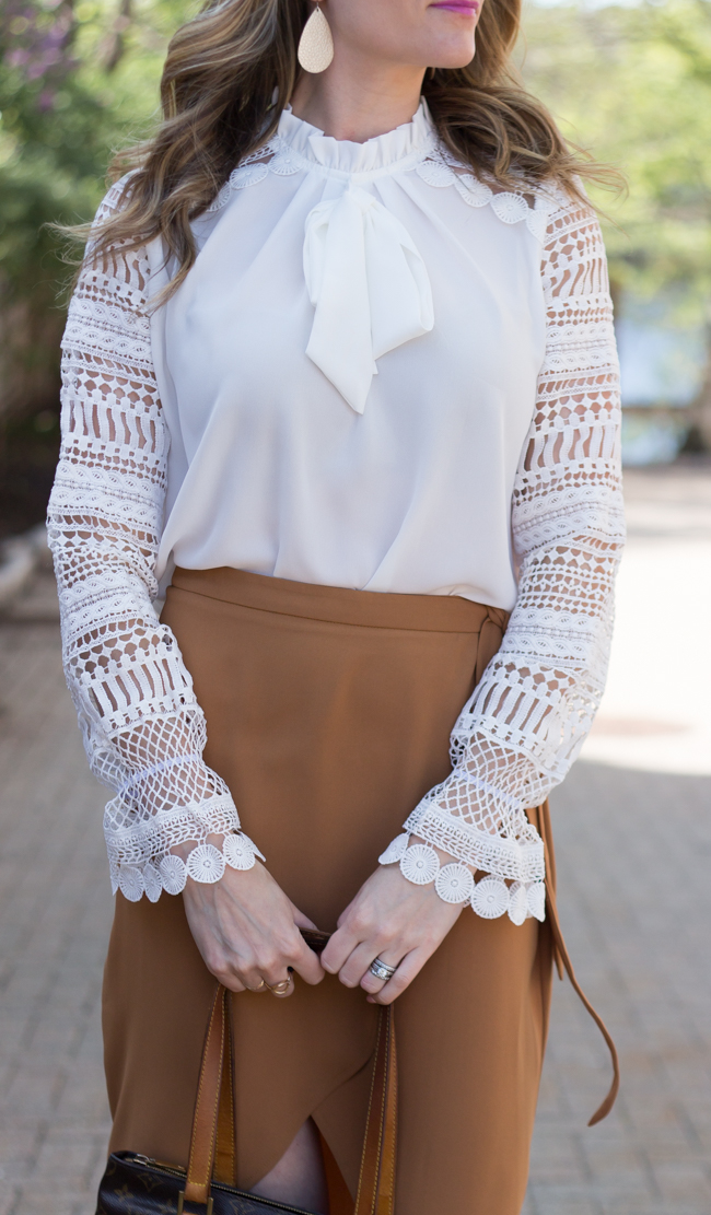 Lace Sleeve Blouse #whiteblose #lacetop