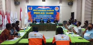 Kabid Diktat Koni Jambi Membuka Secara Resmi Musda PERCASI Periode 2020-2024.