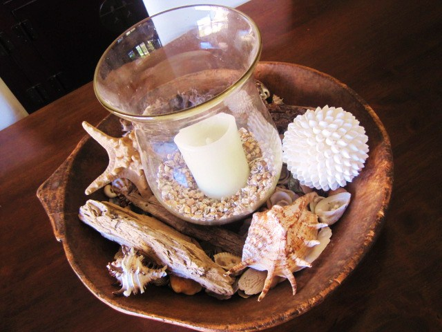 Seasonal Decorating Ideas using Nature, dough riser, sea shells, candle