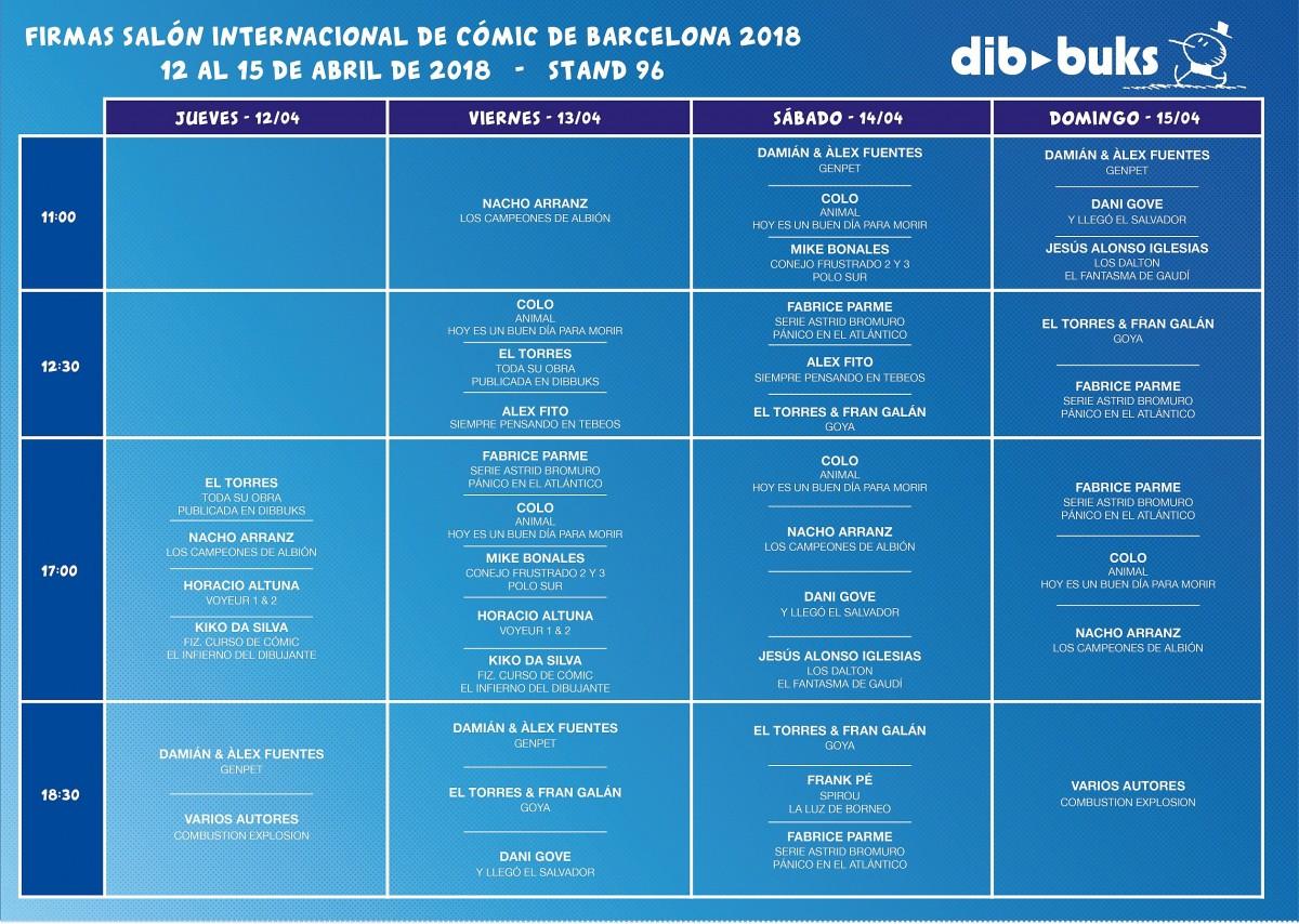 """Horarios de firmas de autores para el """"36º Salón Internacional del Cómic de Barcelona"""" de Dibbuks."""