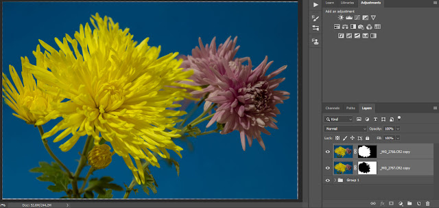 Result of Auto-Blend command in Photoshop with layers masked