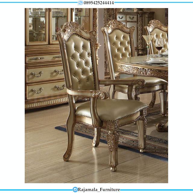 New Desain Meja Makan Mewah Classic Luxury Jepara Kayu Perhutani RM-0465