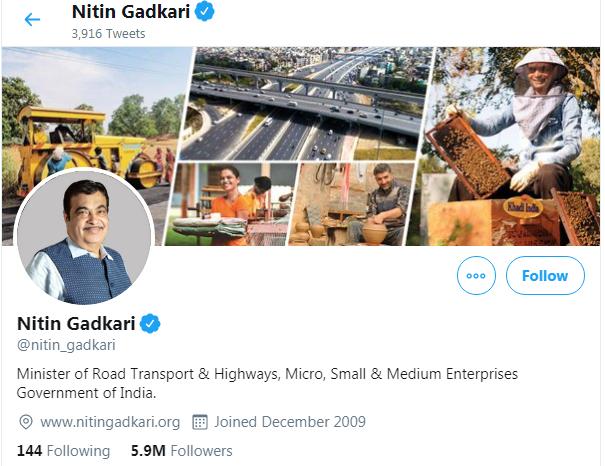 Nitin Gadkari Twitter Followers
