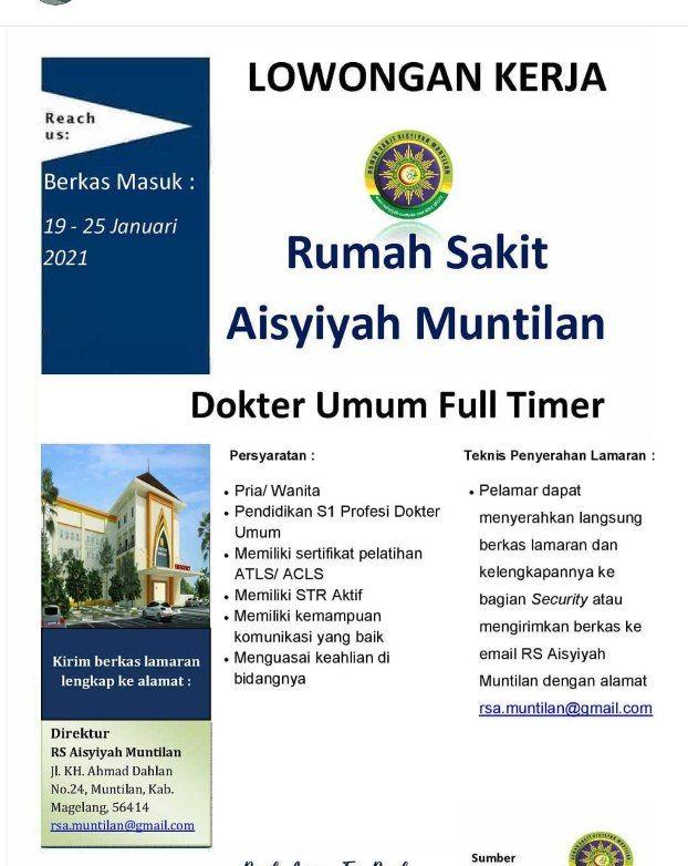 Loker Dokter RS Aisyiyah Muntilan, Magelang, Jawa Tengah