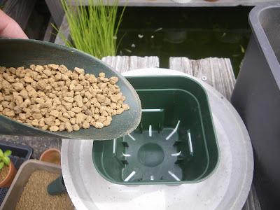プラ鉢 赤玉土の小粒