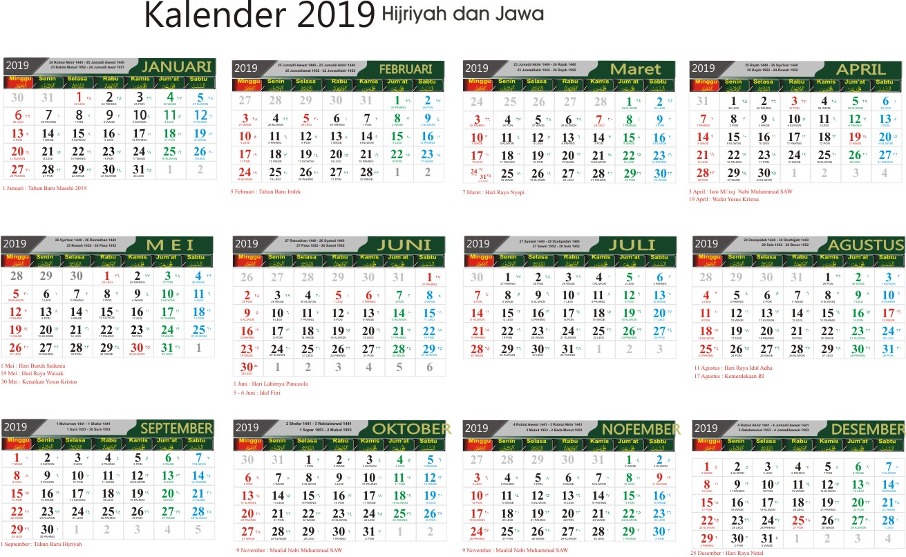 Free Download Kalender 2019 Lengkap Cdr