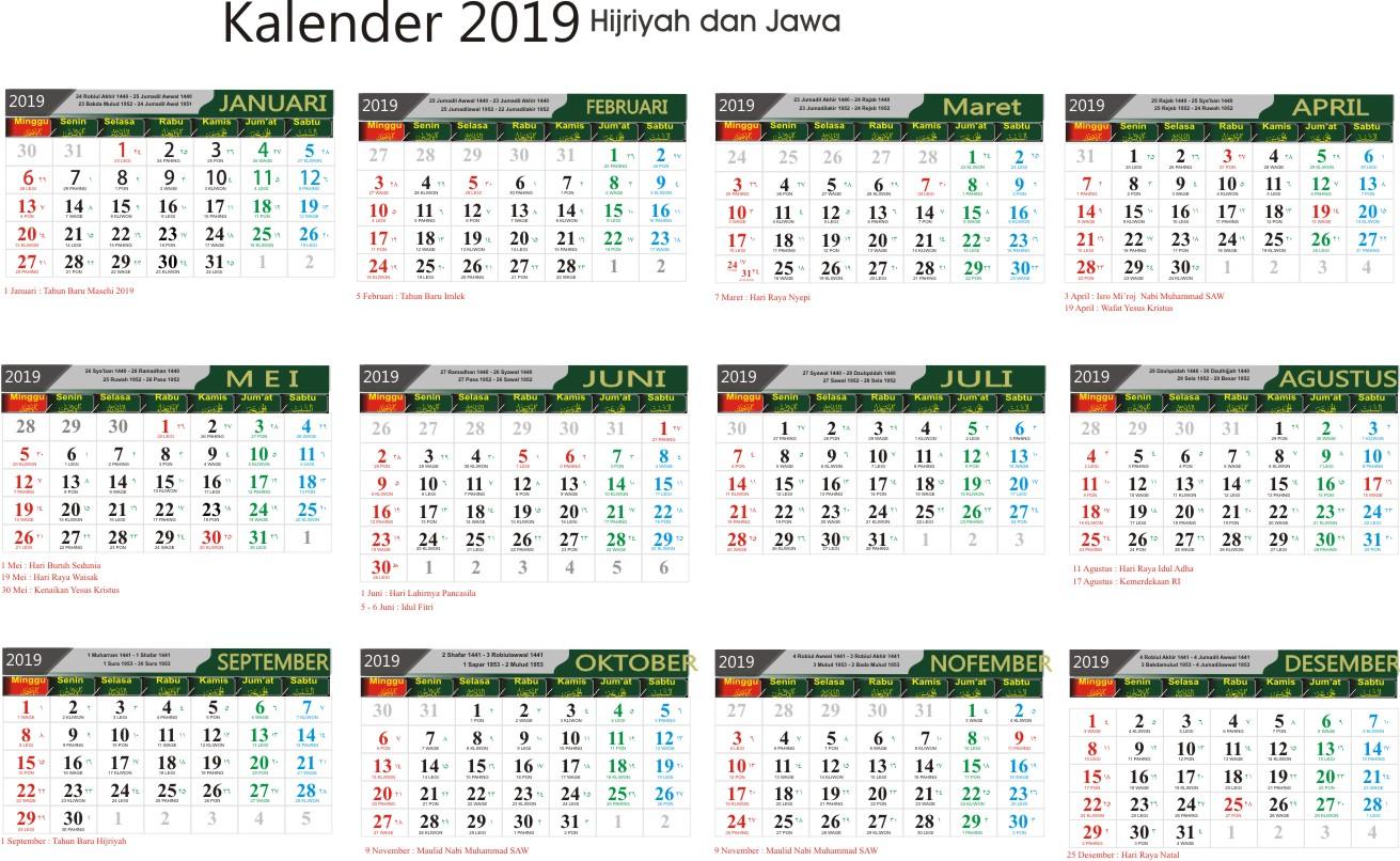 Download Template Kalender 2019 Cdr Gratis