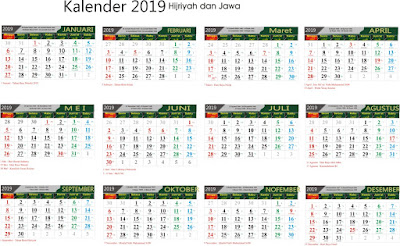 Terbaru Kalender 2019 Siap Download dan Edit