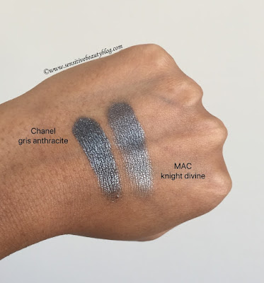 Chanel gris anthracite vs MAC knight divine review and swatch conparison