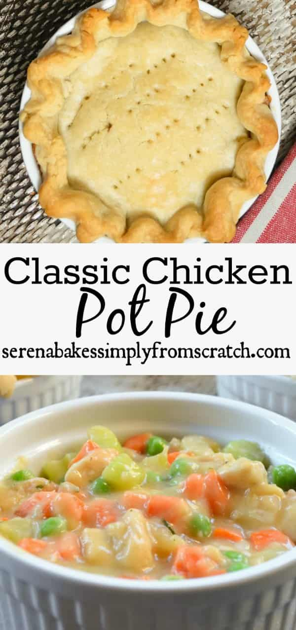 Homemade Chicken Pot Pie is a comfort food classic filled with chicken, carrots, and peas in a creamy gravy and covered in a flaky pie crust from Serena Bakes Simply From Scratch.