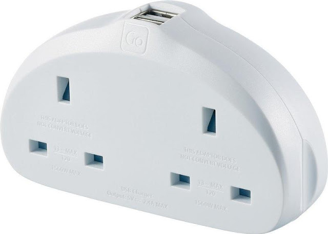 Go Travel Duo Earthed UK to EU Power Adapter