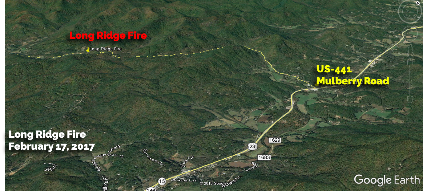 Google Earth Image showing  the approximate location  of the Long Ridge Fire