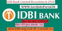IDBI Bank Limited Recruitment 2018 – 760 Executive