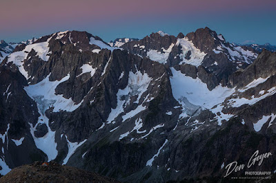 View of the North Cascades at dawn from Sahale High Camp, North Cascades National Park, Washington, USA.