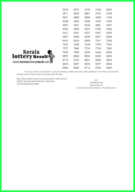 01-01-2019 STHREE SAKTHI Lottery SS-138 Results Today - kerala lottery result