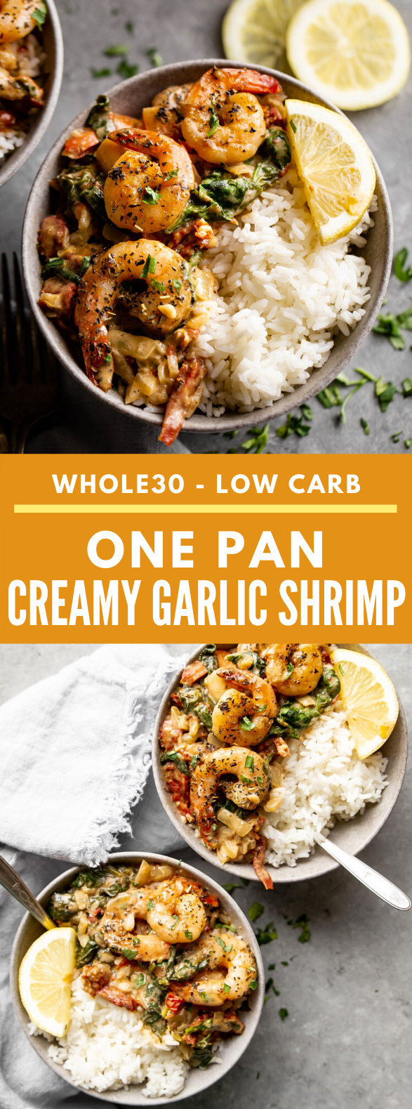 ONE PAN CREAMY GARLIC SHRIMP #whole30 #paleo