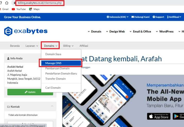 Manage DNS Custom Domain Blogspot di Exabytes