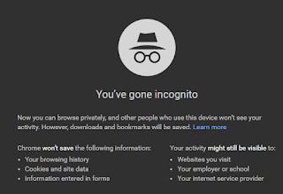 Google Chrome incognito mode window