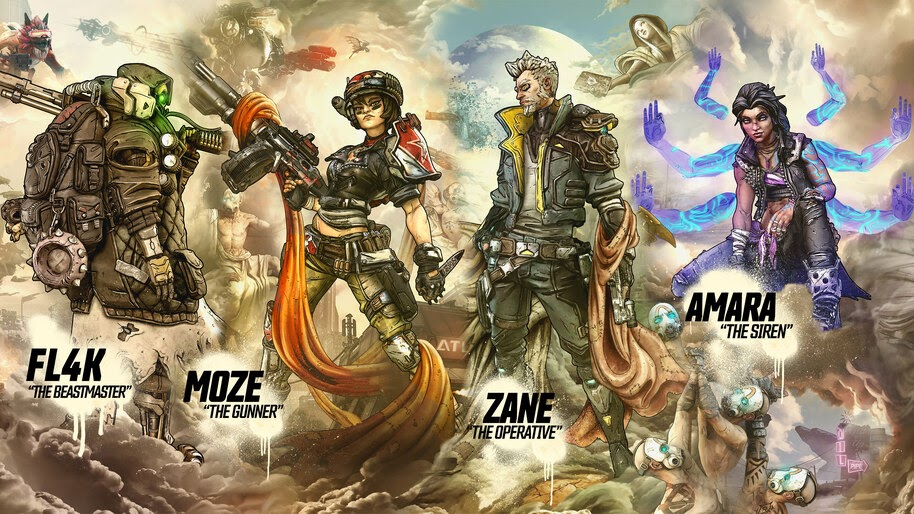 Borderlands 3 Characters Fl4k Moze Zane Amara 8k Wallpaper