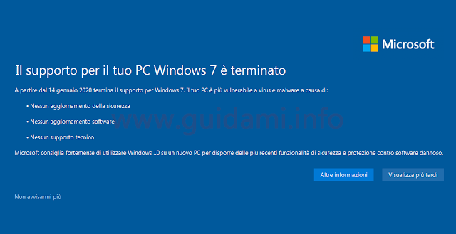 Notifica di fine supporto Windows 7