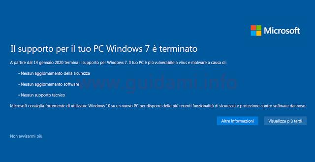 Notifica di fine supporto di Windows 7