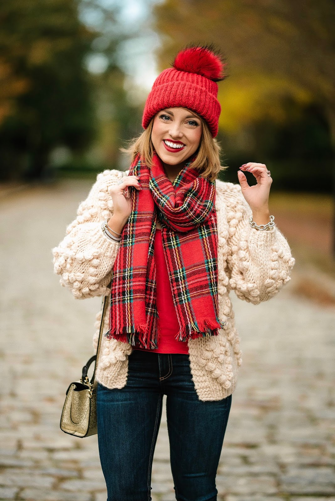 Pom Pom Heart Cardigan & Plaid Scarf - Something Delightful Blog