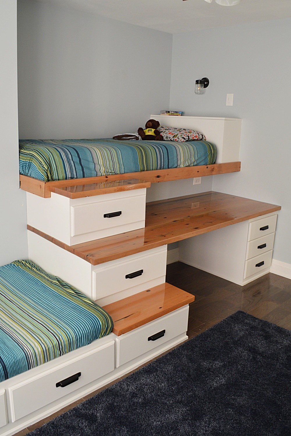 Built in loft bed with drawers and desk