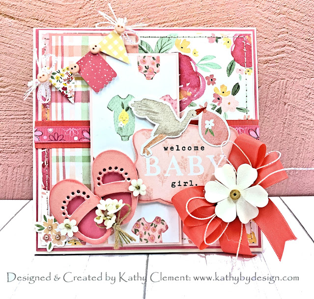Echo Park Welcome Baby Girl Baby Shoes Card by Kathy Clement for Really Reasonable Ribbon