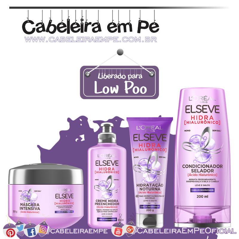 Condicionador, Creme Preenchedor, Creme de Tratamento e Creme Noturno Hidra Hialurônico - Elseve (Low Poo)