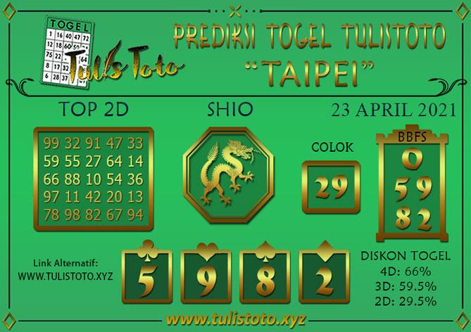 Prediksi Togel TAIPEI TULISTOTO 23 APRIL 2021
