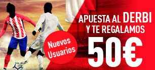 sportium regalo 50 euros derbi Atletico vs Real Madrid 18 noviembre