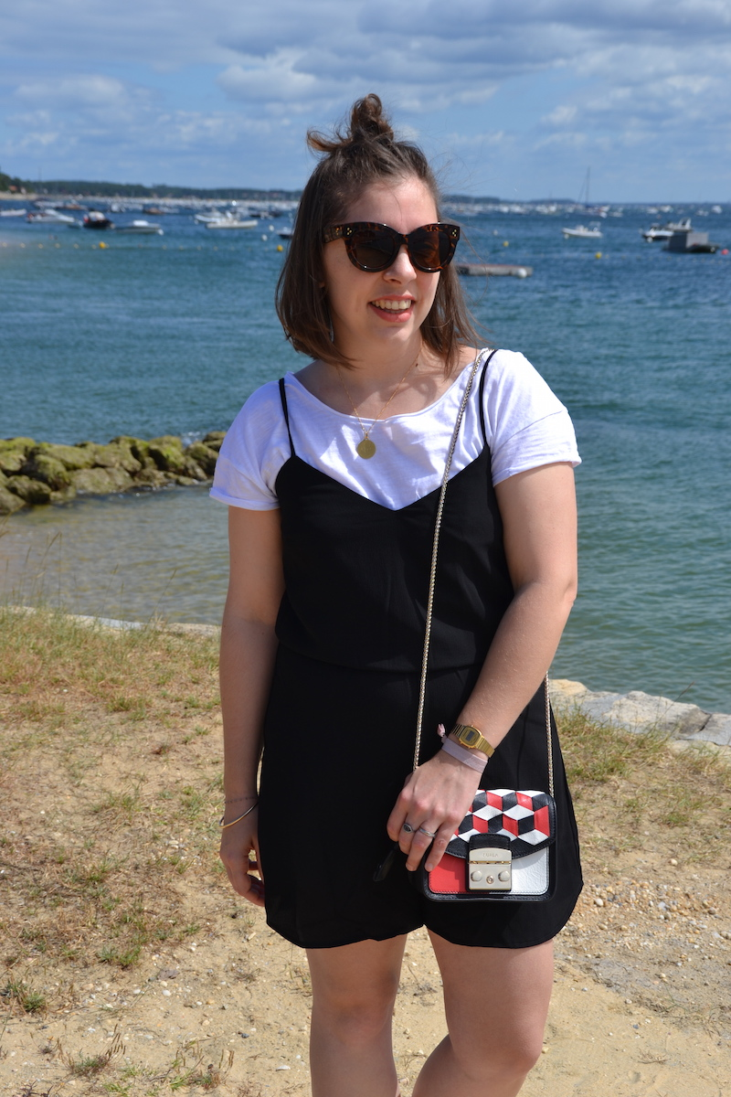 metropolis bag,combinaison short noir Stradivarius, t-shirt blanc, lunette aliexpress