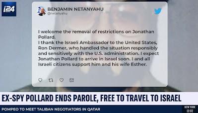 Netanyahu tweet on Pollard release