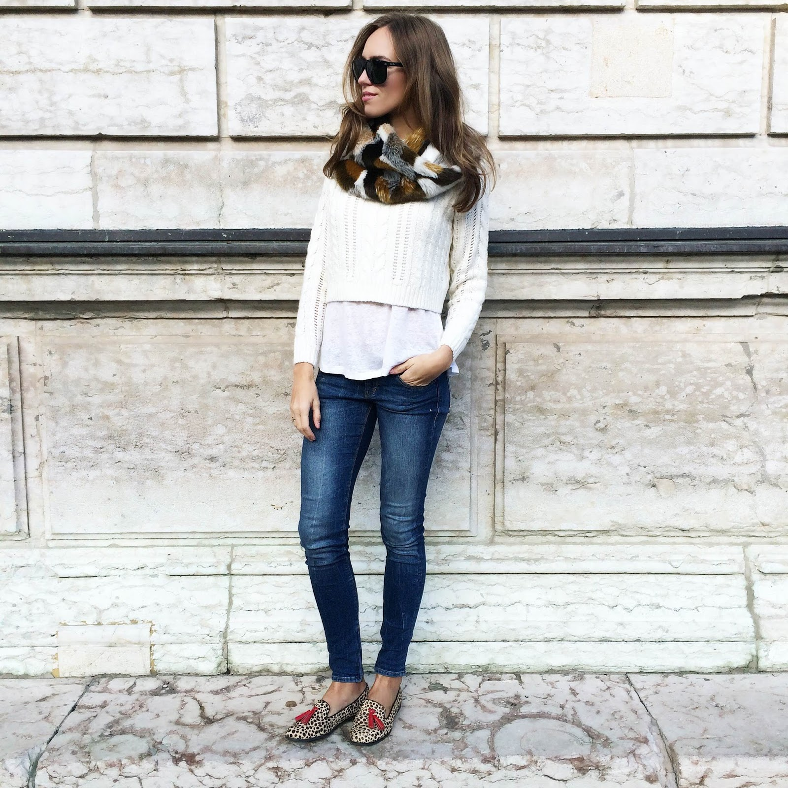 kristjaana mere white cropped sweater blue skinny jeans leopard flats fall outfit
