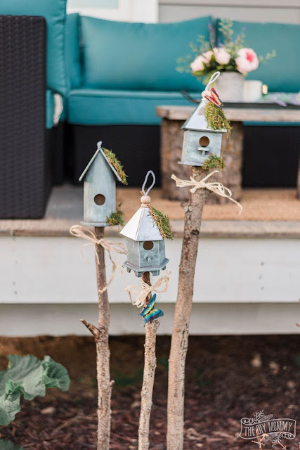 Rustic birdhouse garden DIY decor made with dollar store materials..