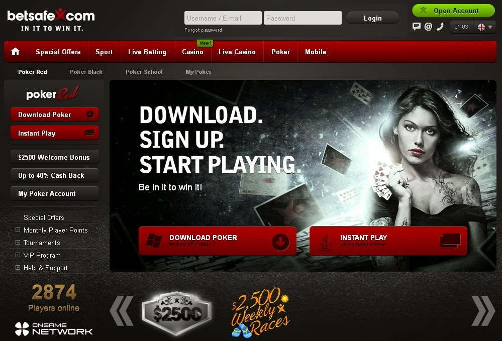 Betsafe Poker Red Screen