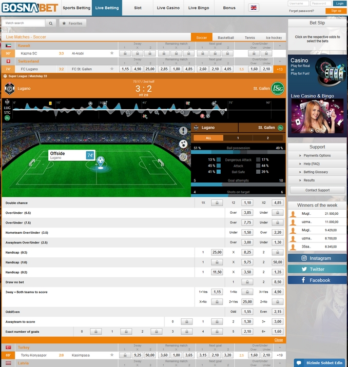 Bosnabet Live Betting Screen